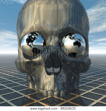 Skull With Two Globes As Eyes