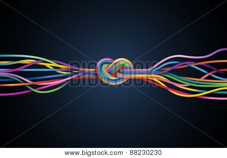 Colorful lines with knot, eps10 vector