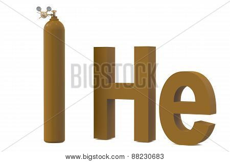 Gas Cylinder With Helium He,  With Pressure Regulator And Reducing Valve