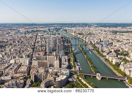 Aerial View Of Paris Cityscape And Seine River