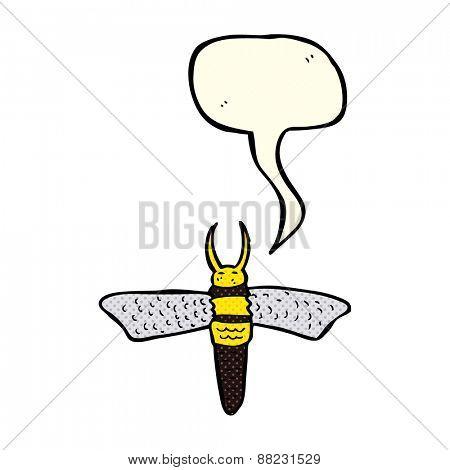 cartoon bug with speech bubble