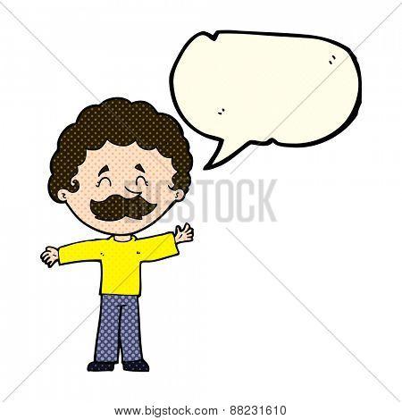 cartoon boy with mustache with speech bubble