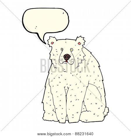 cartoon funny polar bear with speech bubble