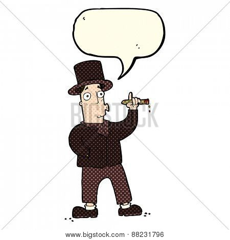 cartoon wealthy man with speech bubble