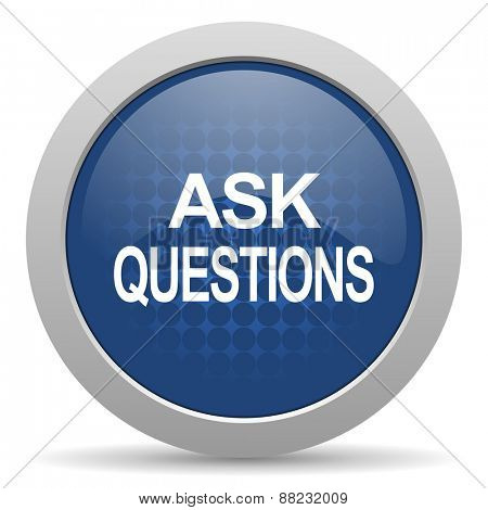 ask questions blue glossy web icon