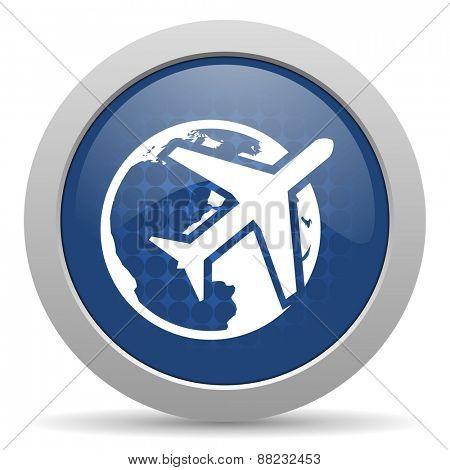 travel blue glossy web icon