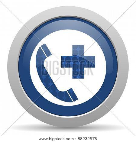 emergency call blue glossy web icon