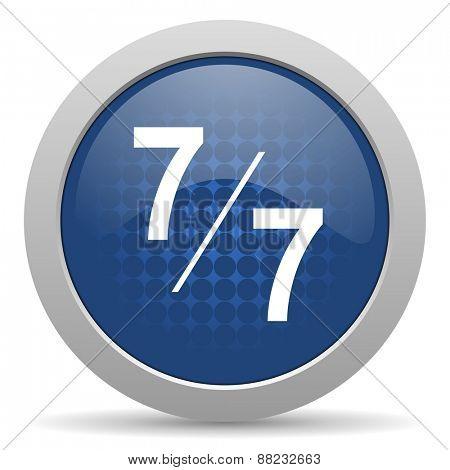 7 per 7 blue glossy web icon