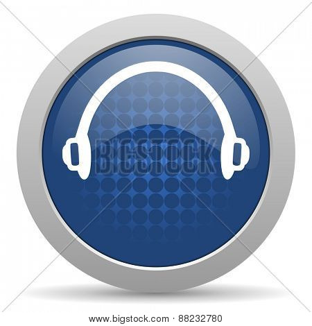 headphones blue glossy web icon
