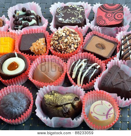 Belgian Chocolate Handmade Chocolate Candies In Different Shapes And Colors
