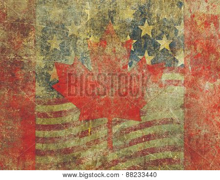 Grunge American And Canadian Flag Design Severly Faded And Damaged