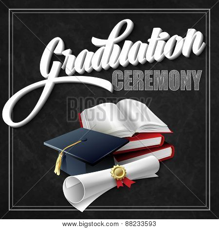 Graduation Ceremony. Book, hat and certificate. Vector illustration