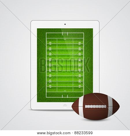 Vector Tablet With American Football Ball And Field On The Screen.