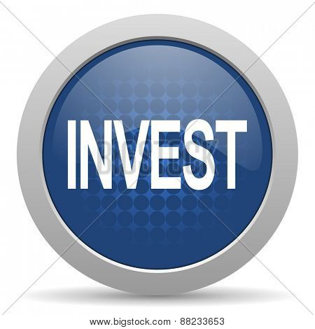 invest blue glossy web icon