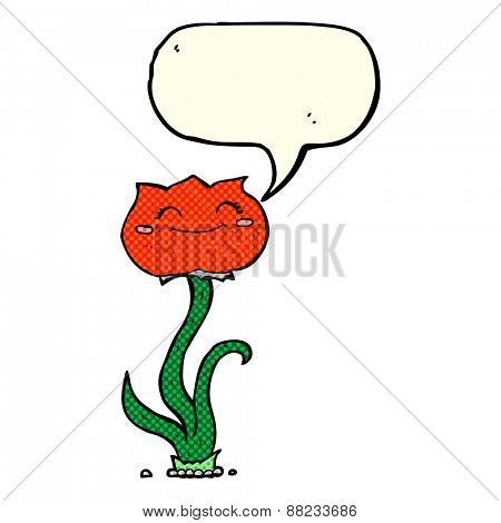 cartoon flower with speech bubble