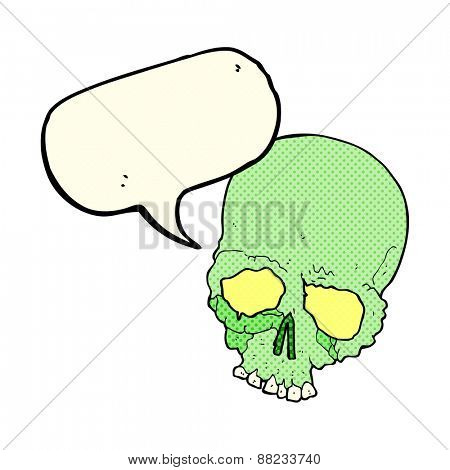 cartoon spooky old skull with speech bubble