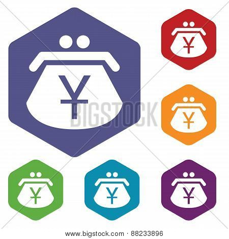 Yen purse rhombus icons