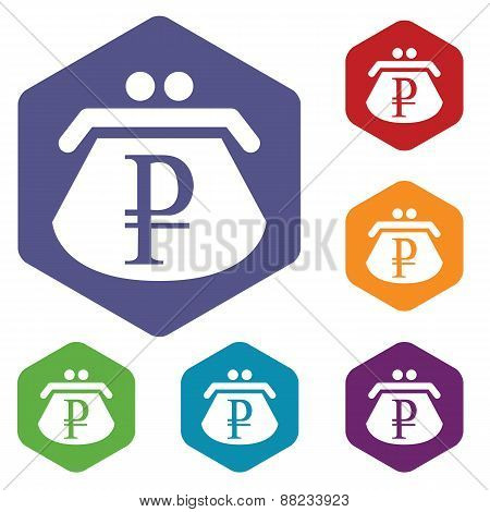 Rouble purse rhombus icons