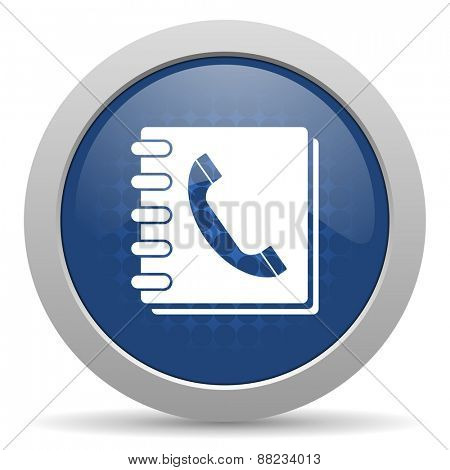 phonebook blue glossy web icon