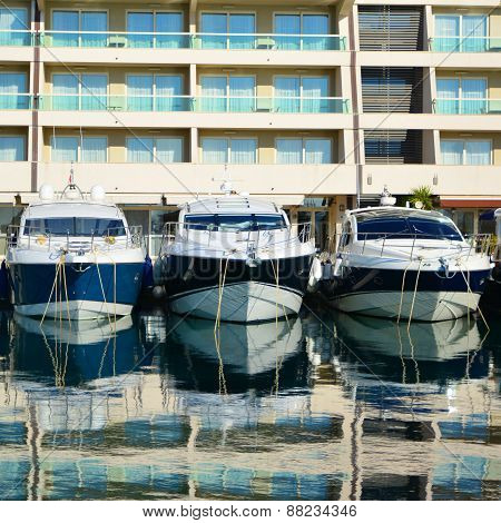 Motor Boats In Marina In Croatia