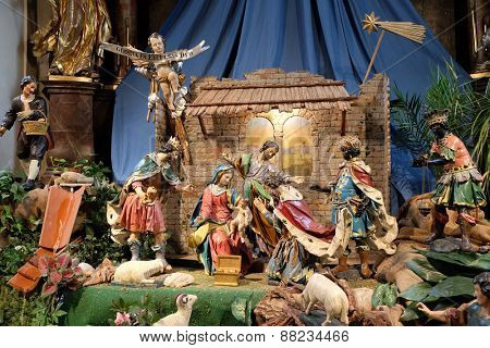 GRAZ, AUSTRIA - JANUARY 10, 2015: Nativity scene, creche, or crib, birth of Jesus in Mariahilf church in Graz, Styria, Austria on January 10, 2015.