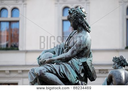 GRAZ, AUSTRIA - JANUARY 10, 2015: Archduke Johann Fountain, allegorical representation of the river Enns, Hauptplatz square, Graz, Styria, Austria on January 10, 2015.