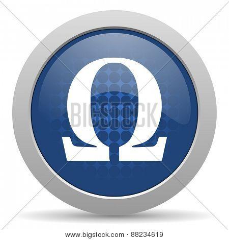 omega blue glossy web icon