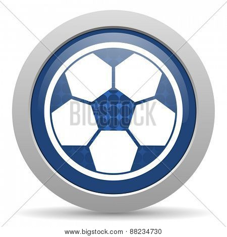 soccer blue glossy web icon