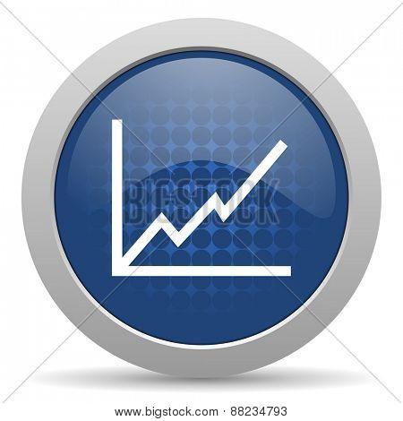 chart blue glossy web icon