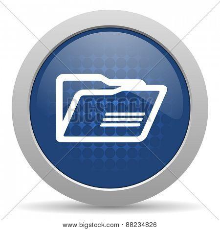 folder blue glossy web icon
