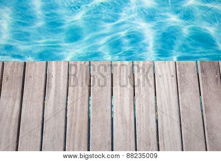 Close-up photo of empty wooden pool deck