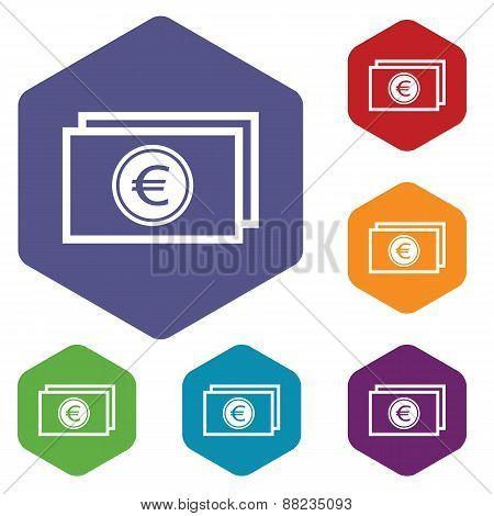 Euro buck rhombus icons