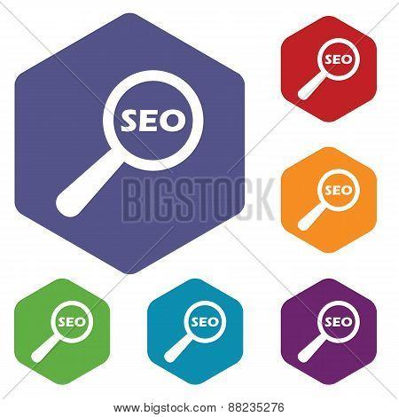 Seo search rhombus icons