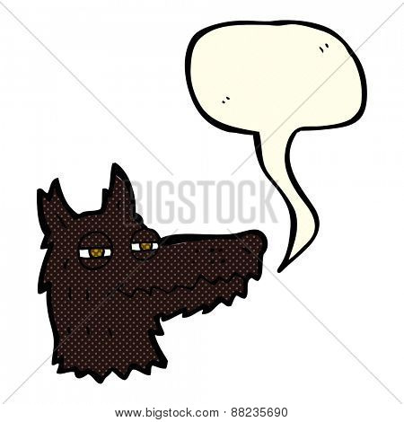 cartoon smug wolf face with speech bubble