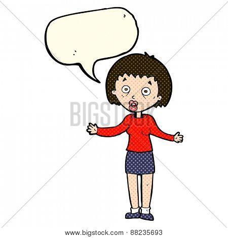cartoon woman with speech bubble