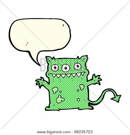 cartoon little monster with speech bubble