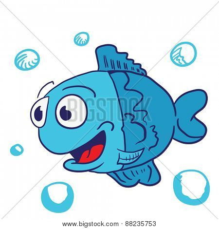 blue fish cartoon illustration