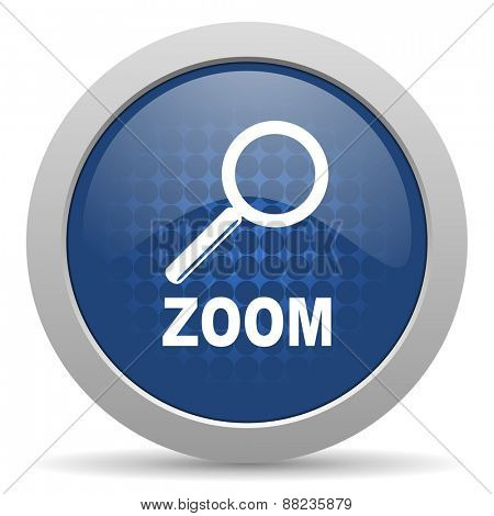 zoom blue glossy web icon
