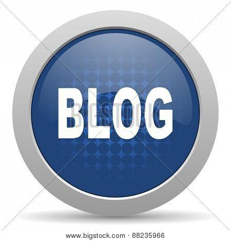 blog blue glossy web icon