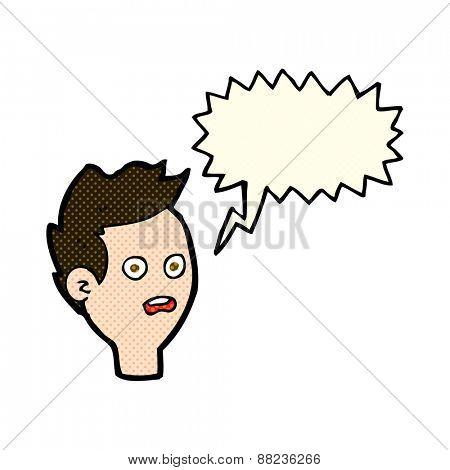 cartoon shocked man with speech bubble