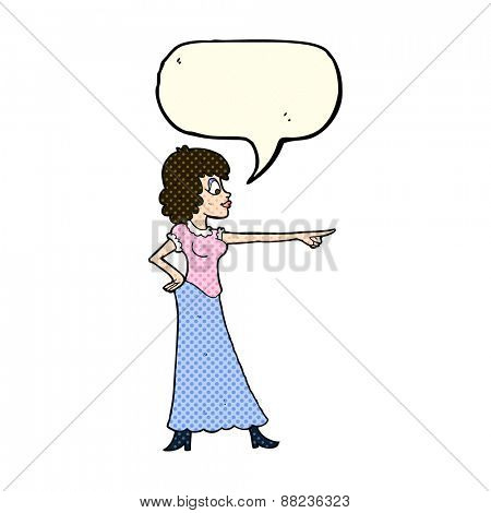 cartoon woman pointing finger with speech bubble