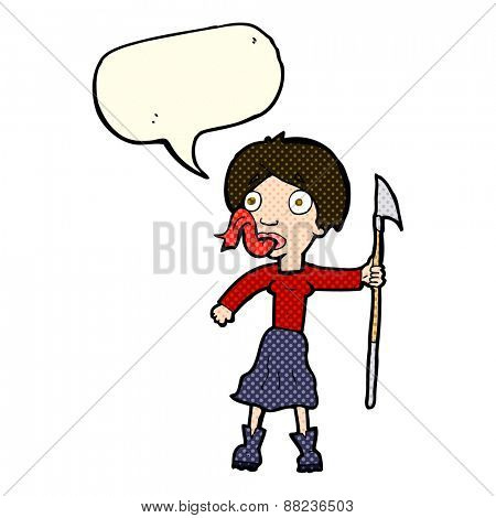 cartoon woman with spear sticking out tongue with speech bubble