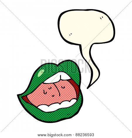 halloween mouth cartoon symbol with speech bubble