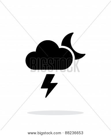 Lightning at night weather simple icon on white background.