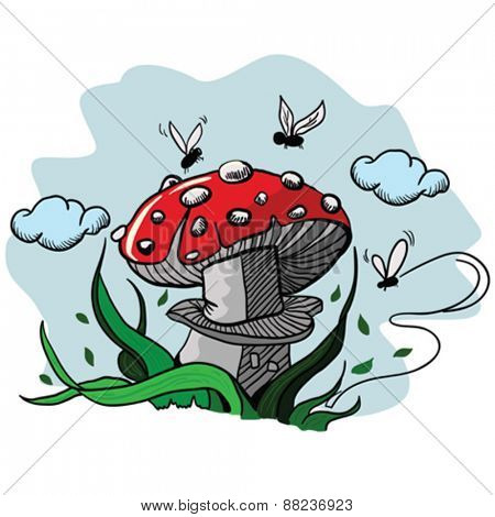 cartoon illustration of a mushroom with bugs flying around