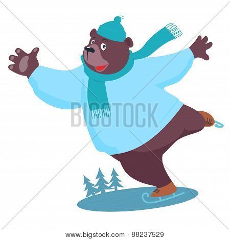 Bear ice skating