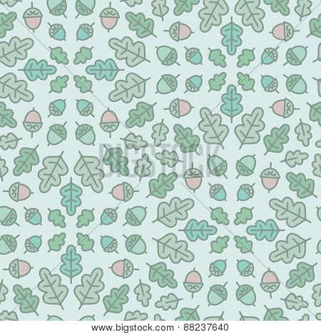 Seamless botanical pattern with oak leaves and acorn