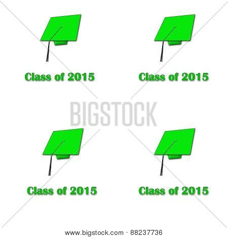 Class of 2015 Green on White Large Pattern