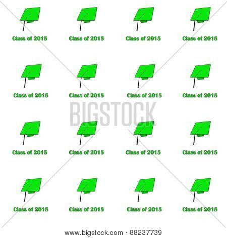 Class of 2015 Green on White Med Pattern