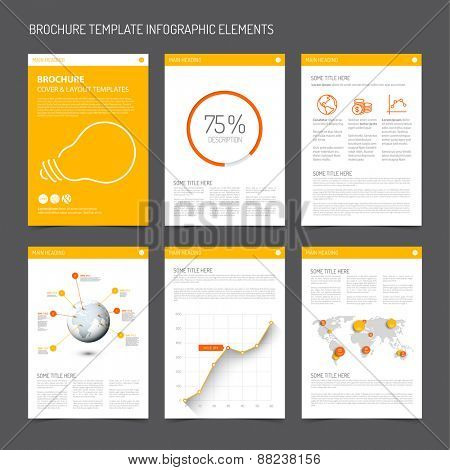 Set of modern brochure flyer design templates with graphs, charts and other infographic elements - yellow and orange version